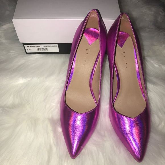 eed8bfa769c Leith Pointed Toe Metallic Pink Pumps